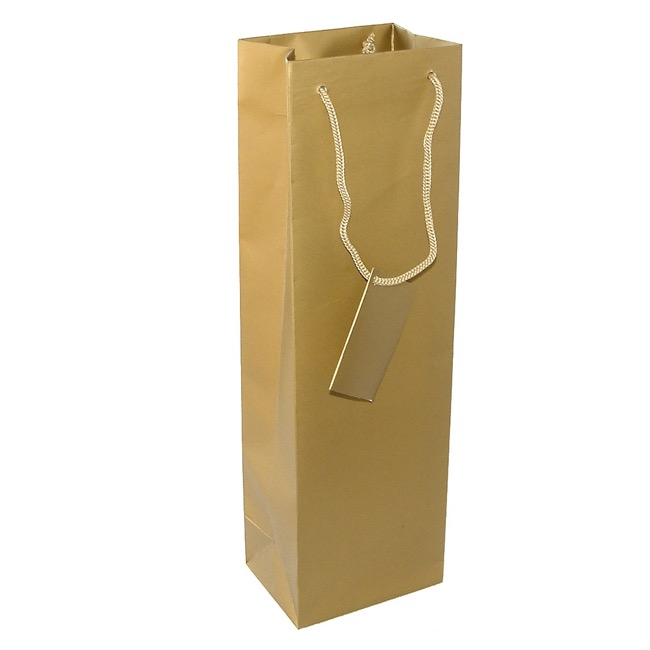 Wine Gift Bags - Wine Bottle Bags Single Pack 5 Gold  (10.5X9X35cmH)