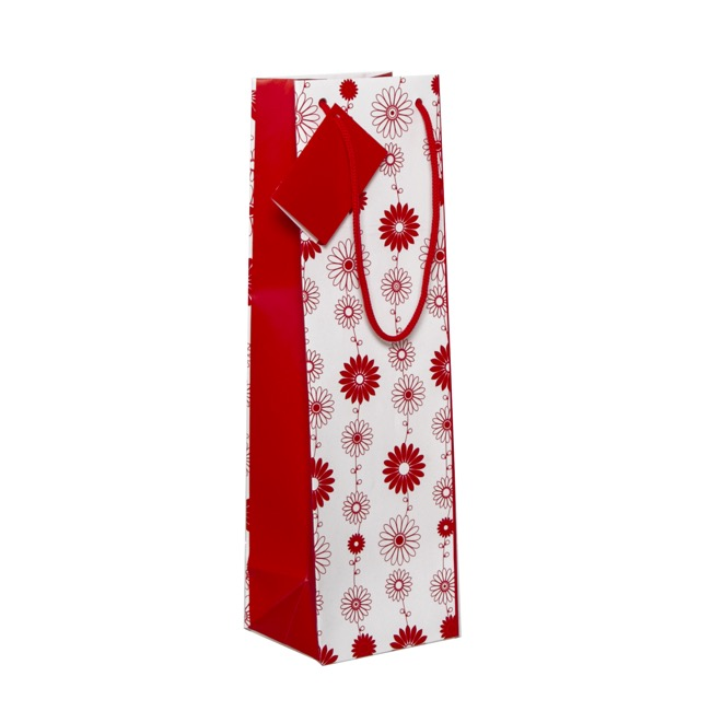 Wine Gift Bags - Wine Bottle Bag Single Gloss Floral Red Wht(11X9X35cmH) Pk 5