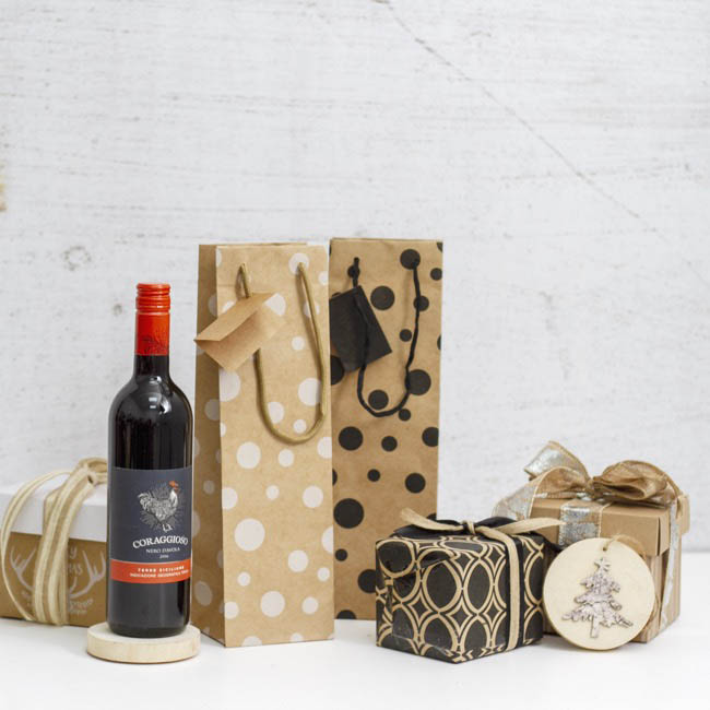 Wine Gift Bags - Wine Bags Single Bottle Pack 5 Kraft Dots Black (11X9X35cmH)