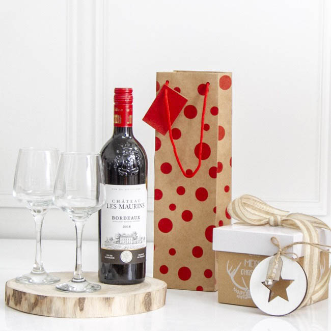 Wine Gift Bags - Wine Bottle Bag Single Kraft Dots Red (11X9X35cmH) Pack 5