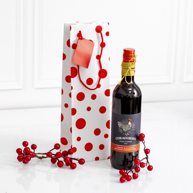 Wine Gift Bags - Wine Bottle Bag Single Gloss Dots Wht Red(11X9X35cmH) Pk 5