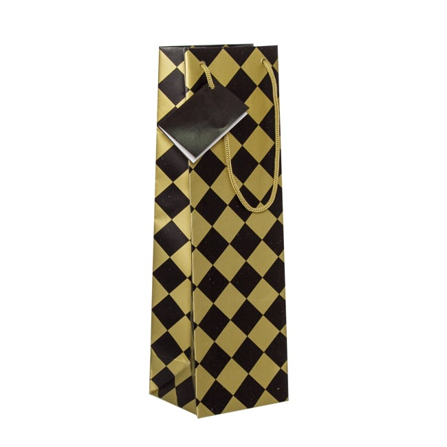 Wine Gift Bags - Wine Bottle Bag Single Gloss Checker Blk Gold(11X9X35cmH)Pk5
