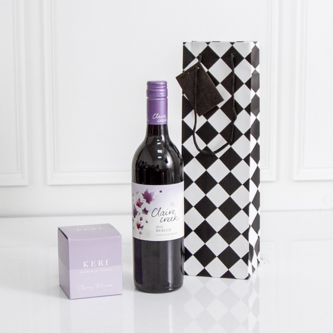 Wine Gift Bags - Wine Bottle Bag Single Gloss Checker Blk Wht(11X9X35cmH)Pk 5