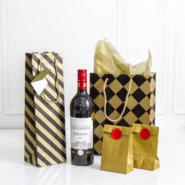 Wine Gift Bags - Wine Bottle Bag Single Gloss Stripe Blk Gold(11X9X35cmH)Pk 5
