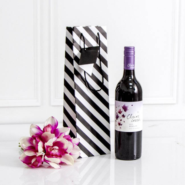 Wine Gift Bags - Wine Bottle Bag Single Gloss Stripe Blk Wht (11X9X35cmH)Pack