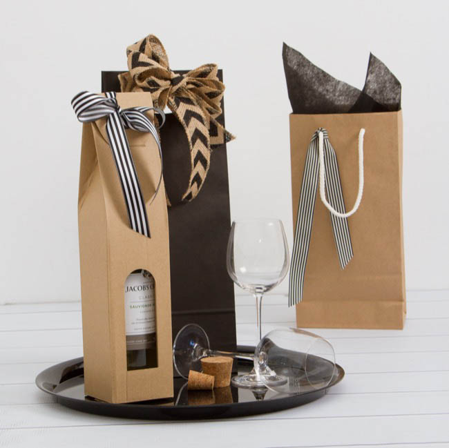 Wine Gift Bags - Two Bottle Kraft Paper Wine Bag Rope Handle (17X9X35cmH)