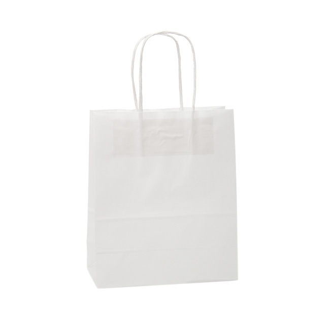 Kraft Paper Carry Bags - White Kraft Paper Bag Shopper Medium (180Wx85Gx215mmH)