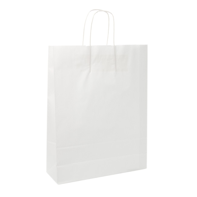 Kraft Paper Carry Bags - White Kraft Paper Bag Shopper Jumbo (320Wx110Gx420mmH)