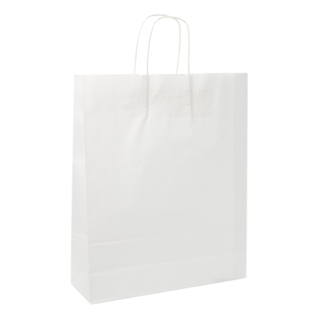 Kraft Paper Carry Bags - White Kraft Paper Bag Shopper Giant (380Wx120Gx460mmH)