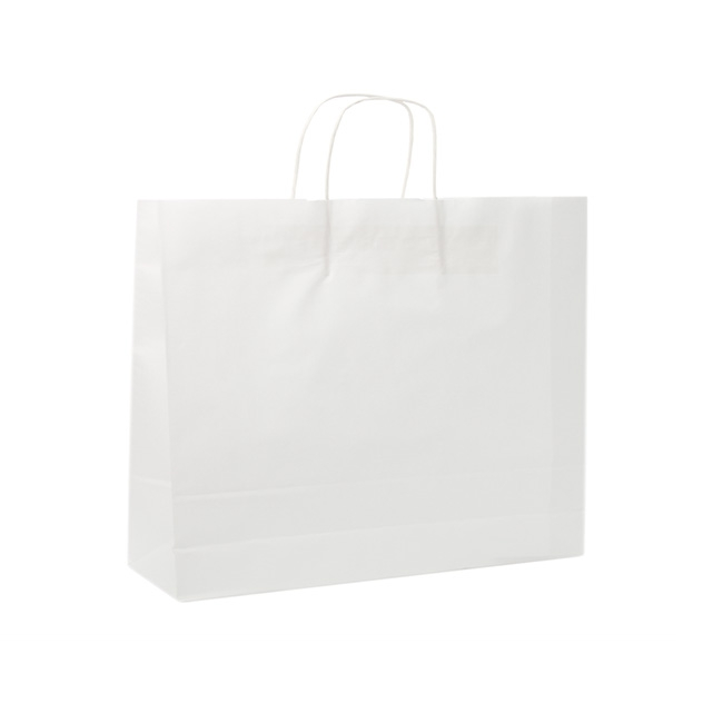 Kraft Paper Carry Bags - White Kraft Paper Bag Boutique Large (450Wx100Gx350mmH)