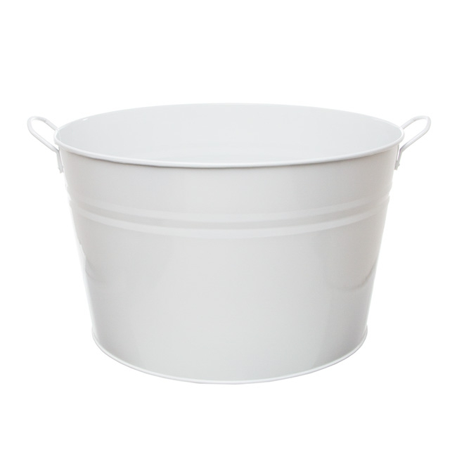 Tin Bucket with side Handle Large White (36cmx22cmH)