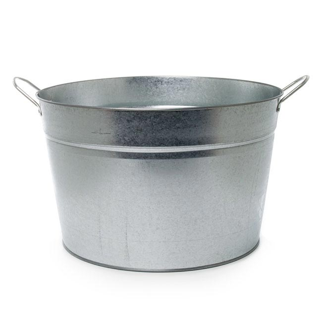 tin bucket with side handle large zinc silver 36cmx22cmh