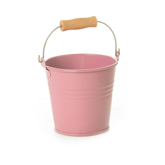 Tin Buckets Pail with Handle - Tin Bucket Bambino Baby Pink (8Dx7cmH)