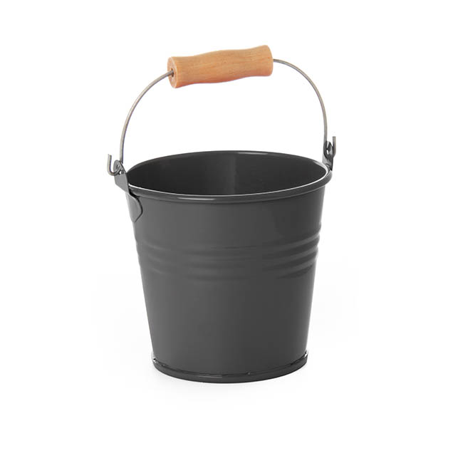 Tin Buckets Pail with Handle - Tin Bucket Bambino Charcoal (8Dx7cmH)