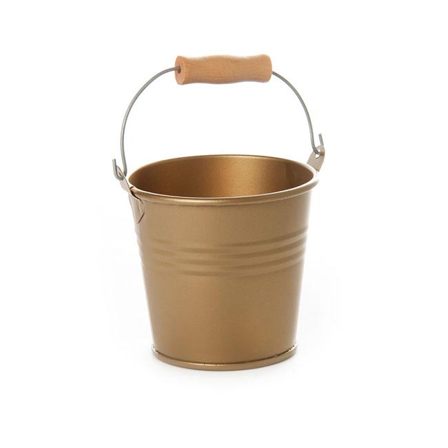 Tin Buckets Pail with Handle - Tin Bucket Bambino Brass Gold (8Dx7cmH)