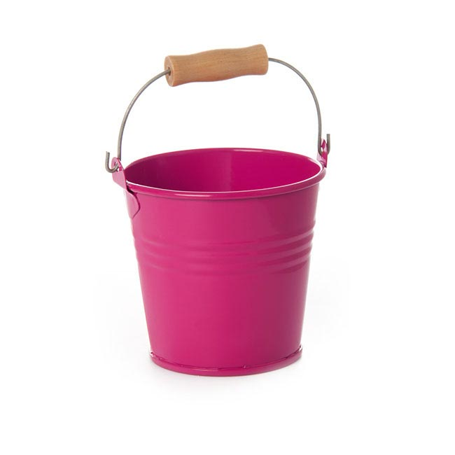 Tin Buckets Pail with Handle - Tin Bucket Bambino Hot Pink (8Dx7cmH)