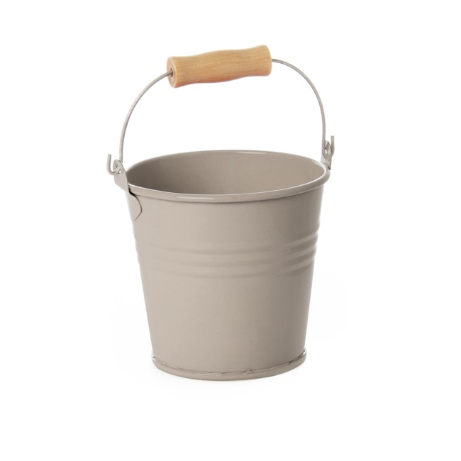Tin Buckets Pail with Handle - Tin Bucket Bambino Latte (8Dx7cmH)