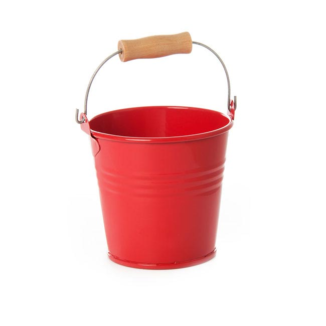 Tin Buckets Pail with Handle - Tin Bucket Bambino Red (8Dx7cmH)