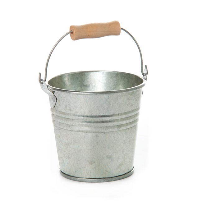 Tin Buckets Pail with Handle - Tin Bucket Bambino Zinc Silver(8Dx7cmH)