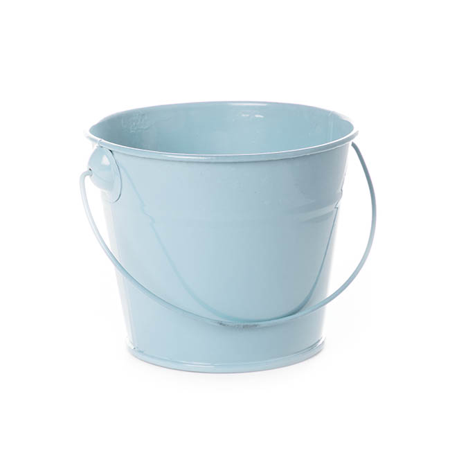 Tin Buckets Pail with Handle - Tin Bucket with Handle Baby Blue (12.5Dx10.5cmH)