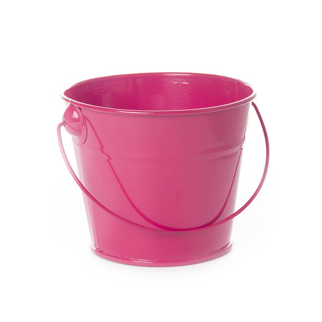 Tin Buckets Pail with Handle - Tin Bucket with Handle Hot Pink (12.5Dx10.5cmH)