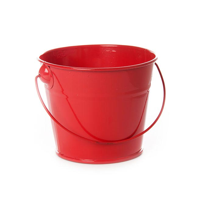 Tin Bucket with Handle Red (12.5Dx10.5cmH)