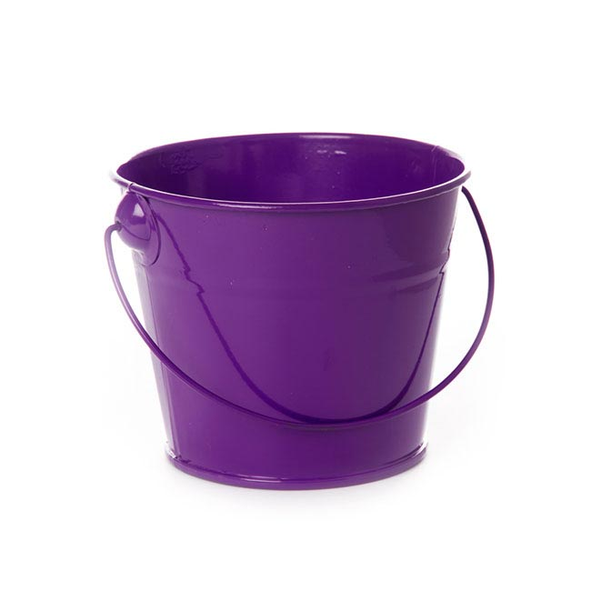 Tin Bucket with Handle Violet (12.5Dx10.5cmH)