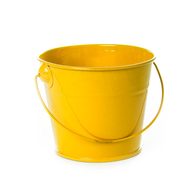 Tin Bucket with Handle Yellow (12.5Dx10.5cmH)