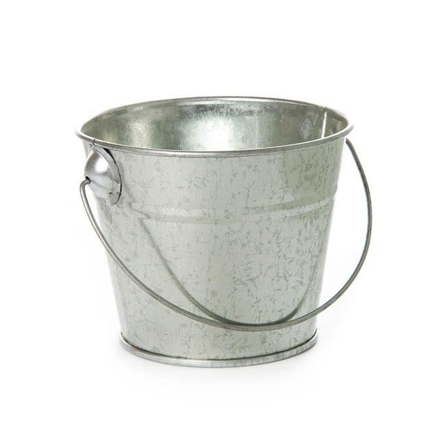 Tin Buckets Pail with Handle - Tin Bucket with Handle Zinc Silver (12.5Dx10.5cmH)