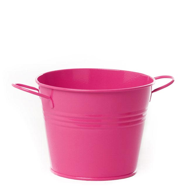 Tin Bucket side Handles Hot Pink (15.5Dx12cmH)
