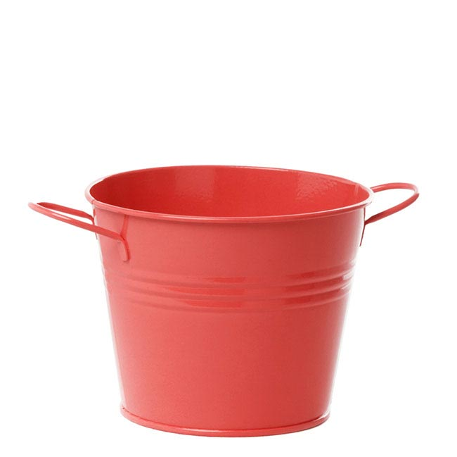 Tin Bucket side Handles Red (15.5Dx12cmH)