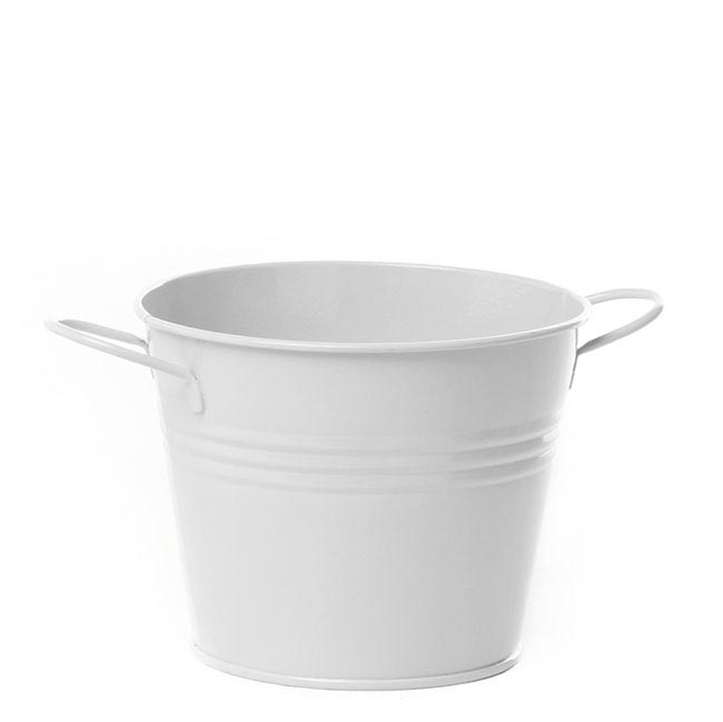 Tin Buckets Pail side handles - Tin Bucket with side Handles White (15.5Dx12cmH)