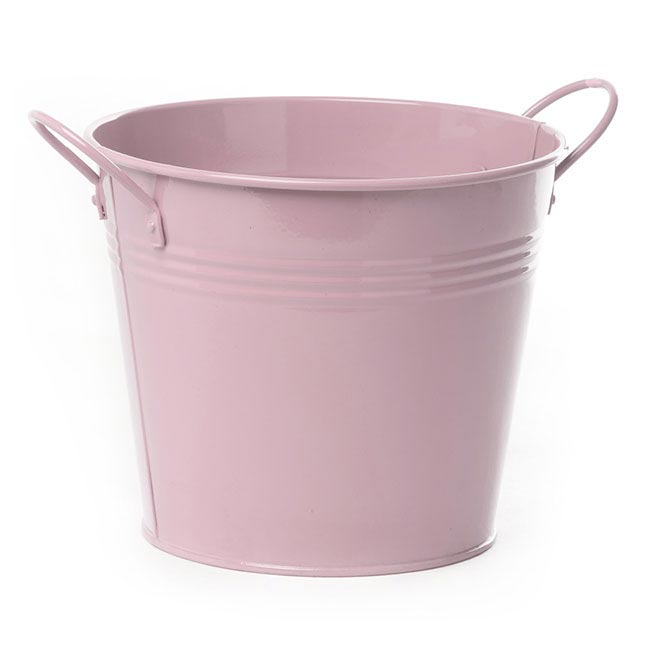 Tin Buckets Pail side handles - Tin Bucket side Handles Baby Pink (18Dx15cmH)