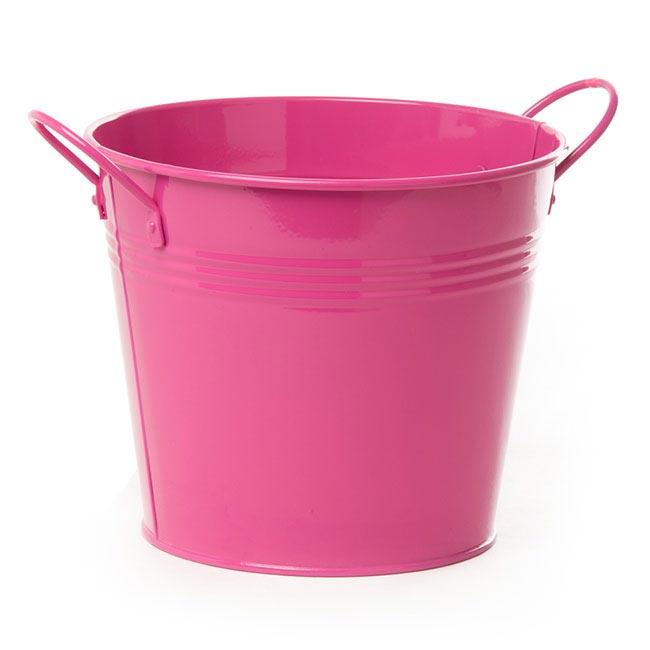 Tin Buckets Pail side handles - Tin Bucket side Handles Hot Pink (18Dx15cmH)