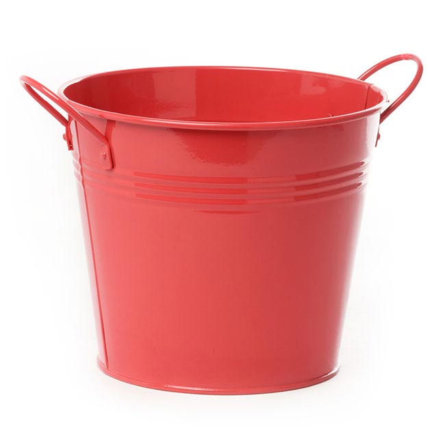 Tin Bucket side Handles Red (18Dx15cmH)