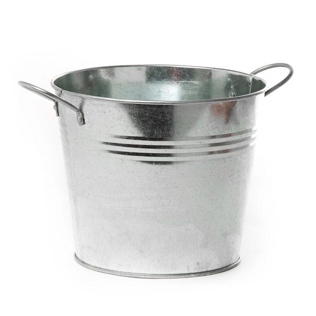 Tin Buckets Pail side handles - Tin Bucket side Handles Zinc Silver (18Dx15cmH)