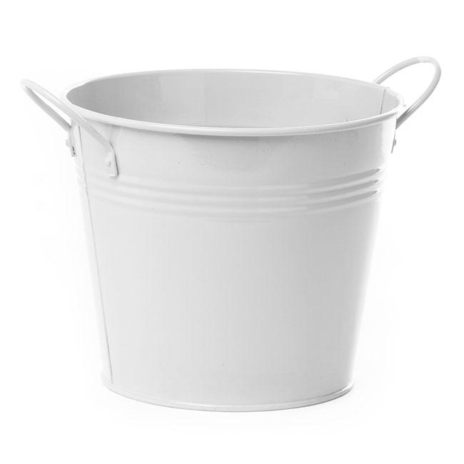 Tin Bucket side Handles White (18Dx15cmH)