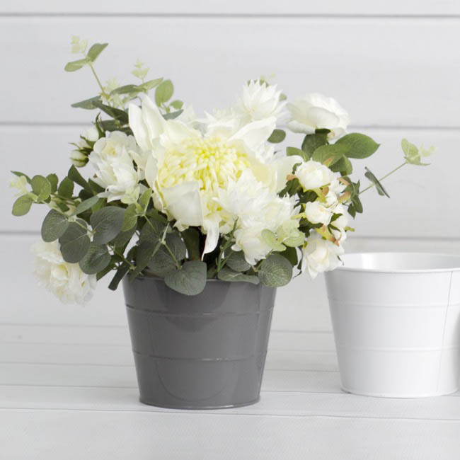 Tin Metal Deco Planters - Tin Bucket Pot White (16.5Dx13.5cmH)